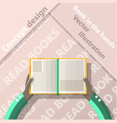 Read books open book in hands flat design vector