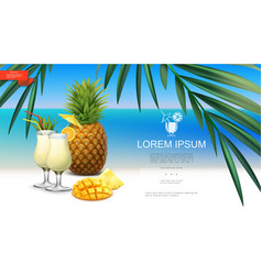 realistic tropical beach party template vector image