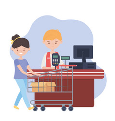 sad customer with shopping cart and box empty vector image
