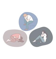 Sadness mental depression grief concept vector