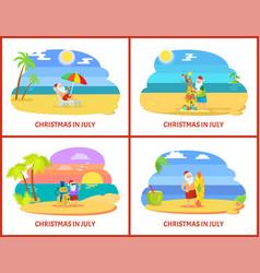 Santa claus warm holidays in july on beach vector
