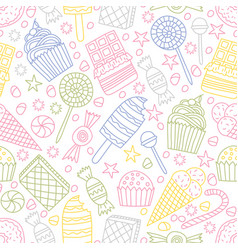 Seamless pattern with candies in doodle style vector