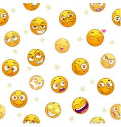 seamless pattern with funny cartoon yellow emoji vector image