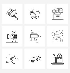 Set 9 simple line icons print printer vector
