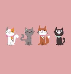 set different cartoon cats cartoon vector image