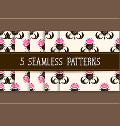 set of five seamless patterns for your products vector image