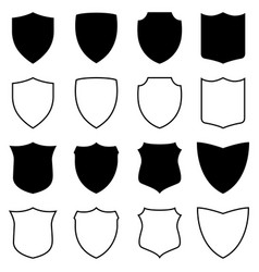 set of silhouettes and outlines of shields vector image