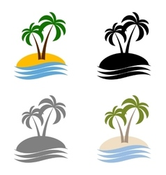 Set palms logo vector