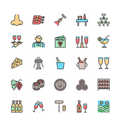 set wine color line icons alcohol cocktail vector image