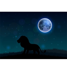 Silhouette of a lion standing on a hill at night vector
