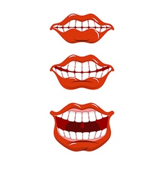 Smile lips set Content mouth collection Cheerful vector image