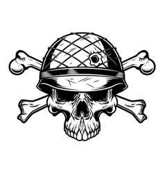 soldier skull in military helmet with crossed vector image