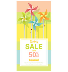 Spring sale banner with colorful pinwheels vector