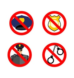 Stop cop set icon it is forbidden by police vector