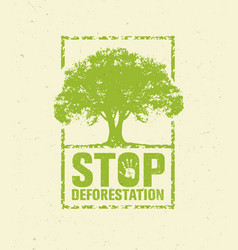 Stop deforestation eco green banner organic vector
