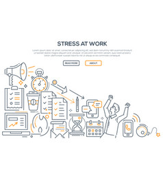 Stress at work - modern line design style vector