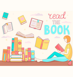 student - young girl is reading book vector image