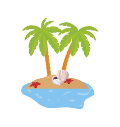 Summer coastline scene with palms and shells vector
