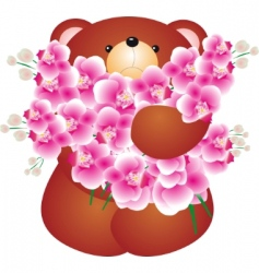 teddy bear with flower vector vector image