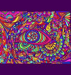 Trippy hippie rainbow psychedelic shamanic eye vector