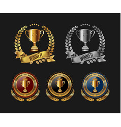 trophy with laurel wreath badge label vector image