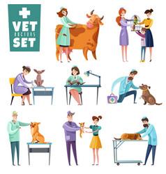 Vet doctors and animals set vector