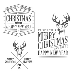 Vintage Christmas design elements set vector image