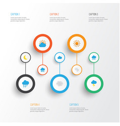Weather flat icons set collection of shower sun vector