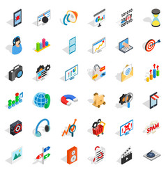 Web development icons set isometric style vector