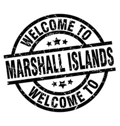 Welcome to marshall islands black stamp vector