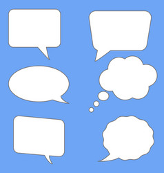 White speech bubbles on blue background flst vector
