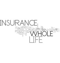 Whole life insurance benefits text word cloud vector