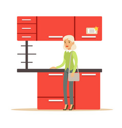Woman buying red kitchen set smiling shopper in vector