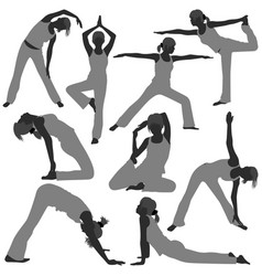 woman yoga exercise poses healthy a set of woman vector image