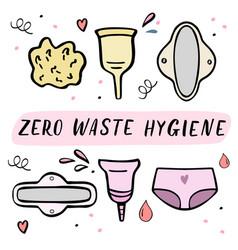 Zero waste women hygiene objects hand drawn vector