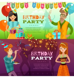Birthday Party 2 Festive Horizontal Banners vector image vector image
