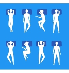 Different Sleeping Poses Set White Silhouette vector image vector image