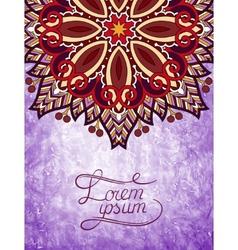 flower design on grunge violet colour background vector image vector image