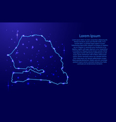 map senegal from the contours network blue vector image vector image