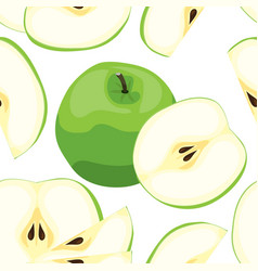 seamless green apple pattern tile vegetarian vector image vector image