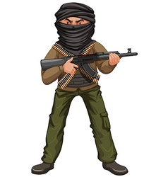 Terrorist with mask and gun vector image