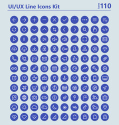UI and UX Material big bold line icons kit vector image