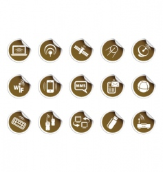 wireless icons sticky series vector image