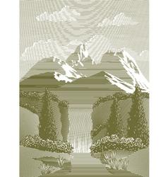 Woodcut Waterfall vector image vector image