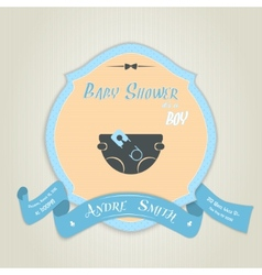 Baby shower invitation with diaper and pin vector image vector image