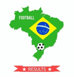 Brazil map in the colors of the flag vector image vector image
