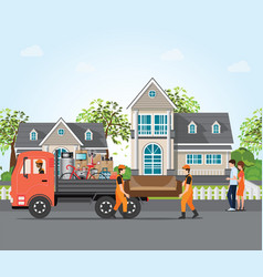 couple moving into new house vector image
