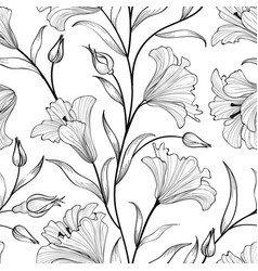 floral seamless patternflower bouquet white vector image vector image
