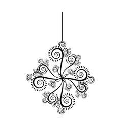 monochrome silhouette with floral ornament and vector image vector image