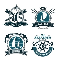 Retro marine and nautical symbols vector image vector image